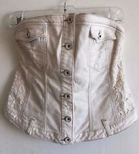 Women's GUESS LA Vintage White Vacation Wash Button Up Denim Corset Top XL NWT