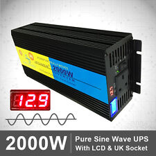 2000W/4000W Pure Sine Wave Power Inverter 12V DC to 230V AC UPS Charger battery
