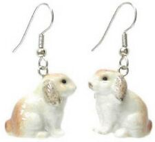 JE080 Lop-eared Rabbit Earrings -Surgical Steel Porcelain Dangle-little Critterz