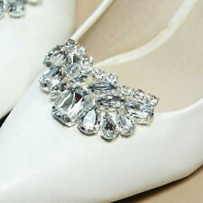 Sparkling Acrylic Rhinestone Crystal Wedding Bridal Silver Tone Shoe Clips Pair