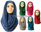 Top Quality *JERSEY* Maxi Plain Scarf Hijab Stretchy Sarong Wrap Shawl Big New