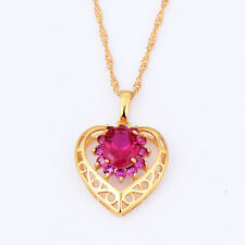 statement womens gold filled ruby flower heart pendant gold chain long necklace