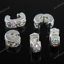 10PCS Clear AB Czech Crystal Rhinestone European Charm Beads Locks/Clips Stopper