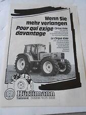 Publicité 1987  HÜrlimann Tracteur Circus AD