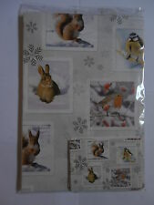 Wildlife Red Squirrel Rabbit Blue Tit & Robin Xmas gift wrap 6 sheets & 6 tags