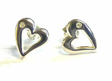 Sterling Silver and Diamond Cutout Heart Stud Earings                    B02127