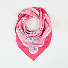 "Hermes Pink Gray Multicolor Silk Chain Print ""Mors & Gourmettes"" Scarf 90 cm"