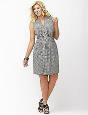 LANE BRYANT PLUS SIZE SHEATH DRESS WITH HARDWARE  26/28 GEOMETRIC STRETCH