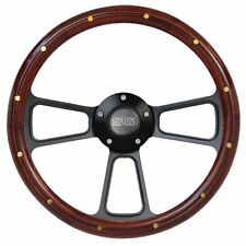 "14"" Mahogany Wood Steering Wheel w/ Black ""SS"" Horn for any Chevy Car or Truck"