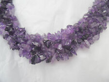 """NATURAL AMETHYST CHIP STONE NECKLACE FLAT DESIGN TOGGLE CLOSURE  18"""" NECKWEAR"""