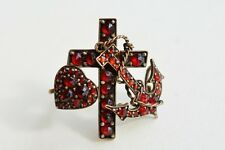 Victorian Garnet Brooch ~ Heart, Anchor, & Cross
