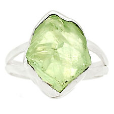 Natural Green Amethyst Rough 925 Sterling Silver Ring Jewelry s.8 SR210673