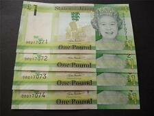 JERSEY A SET OF 4 UNCIRCULATED MINT £1 NOTES WITH CONSECUTIVE SERIAL NUMBERS.