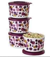 Tupperware 4pc Canisters Set Party Popping Bowls & Seals 2-cup Stackable New
