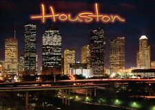 Downtown Houston Skyline District at Night, Texas, Roads, Lights, TX -- Postcard