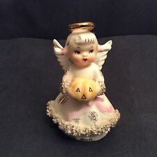 Vtg.. Lefton Angel figurine October  Holding Pumpkin 1950's.l