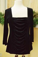 NEW Midnight Velvet XL Ruched Velour Knit Top Black Boho Club Gothic Punk Rock