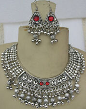 Tribal Costume Jewelry NECKLACE EARRING Silver pl Vintage Gypsy Bellydance