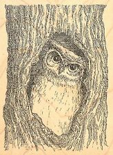 OWL IN TREE Wood Mounted Rubber Stamp IMPRESSION OBSESSION F2516 NEW