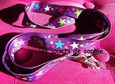 etoile TOUR COU cordon star violette mauv porte clef Badge KEYCHAIN clef lanyard