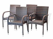 Set of 4 Outdoor Patio Dining  Arm Chair Resin Rattan Wicker Color Dark Brown