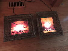 Religious HOLOGRAM 3-D Picture Lighted Vintage Ornate Framed Pair Art (a482)