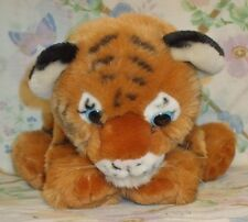 "K&M INTERNATIONAL 2005 PLUSH STUFFED 11"" BLUE EYE ORANGE STRIPE TIGER CUB EUC"