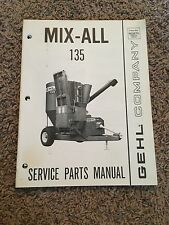 Gehl Company Mix-All 135 Service Parts Manual
