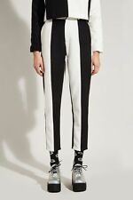 THE WHITEPEPPER Hipster Stripe Wool Trousers Crop Monochrome - Small #25B374