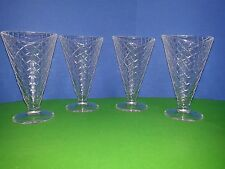 Sweet Set of Four Dessert Glass Cups Sugar Cone Shaped