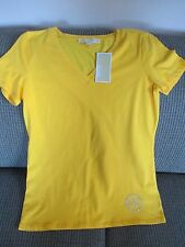 NWT MICHAEL KORS Women Yellow Short Sleeve V-Neck Shirt Top sz M/36-38  $ 59.50