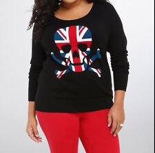 Torrid Rebel Skull Union Jack Raglan Black Sweater Size: 2 2X 18 20 #705