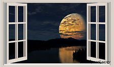 Moonlight on Lake Window View Repositionable Color Wall Sticker Wall Mural 3 FT