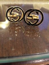 MENS Gucci Cufflinks GG Logo Interlocking G New Style Gold plated Msrp $380