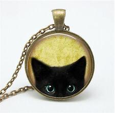 Vintage Cat Cabochon Glass Dome Bronze Pendant Chain Necklace to08