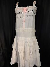 Vintage white Eyelet Slip dress Cotton cami Petticoat ruffle Garden Wedding S M
