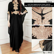 Embroidery Kaftan Black Moroccan Maxi kaftan dress, Bridesmaid Wedding Dress