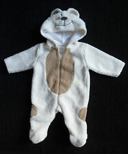 Baby clothes UNISEX BOY GIRL 0-3m Tiny Ted cream/beige fleece pramsuit SEE SHOP!