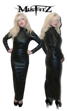 Misfitz black leather look full length hobble zip back mistress dress size 18