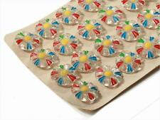 Card (24) 18mm Vintage Czech Deco hand paint crystal daisy flower glass buttons