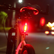 Tail Rear Safety Red USB Rechargeable Bicycle Cycling 5 LED Warning Light Bike