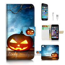 iPhone 6 6S (4.7') Flip Wallet Case Cover! P2235 Halloween Pumpkin