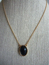 "16"" Thin Goldtone Vintage Necklace with Mood Changing Oval Pendant"