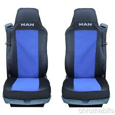 PAIR/2  BLUE-BLACK FABRIC TAILORED SEAT COVERS FOR MAN TRUCK TGA TGL TGX TGS NEW