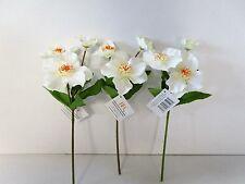 Pack of 3 Artificial Cream Hellebore - 34cm - Winter Flowers