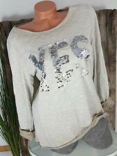 """NEU ITALY VINTAGE BLUSE LA SHIRT """"YES"""" 3D PAILLETTEN WASHED TAUPE 36-42"""