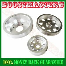 For Nissan 240SX S14 S15 SR20 EMUSA Aluminum Performance Silver Crank Pulley Kit