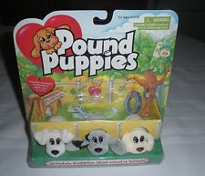 NEW Pound Puppies 1996 Galoob 3 Miniatures Still In Original Package #2