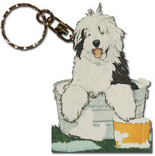 Old English Sheepdog Wooden Dog Breed Keychain Key Ring