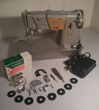 Vintage Singer Style-O-Matic Deluxe Zig-Zag Model 328K Sewing Machine & Extras